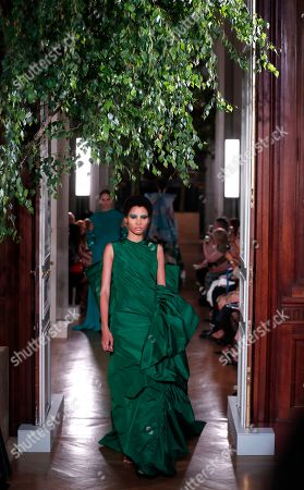 Dominican model Lineisy Montero presents a creation from the Fall/Winter 2019/20 Haute Couture collection by Italian fashion designer Pierpaolo Piccioli for Valentino fashion house during the Paris Fashion Week, in Paris, France, 03 July 2019. The presentation of the Haute Couture collections runs from 30 June to 04 July.
