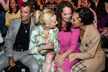 US actors Anne Heche (2-L) and Thomas Jane (L), Barbara Becker (R) and Natalia Woerner (3-L) pose prior to the Riani show during the Mercedes-Benz Fashion Week in Berlin, Germany, 03 July 2019. The Spring/Summer 2020 collections are presented at the MBFW Berlin from 01 to 03 July.