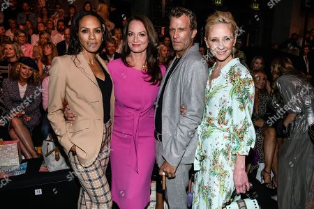 US actors Anne Heche (R) and Thomas Jane (2-R), Barbara Becker (L) and Natalia Woerner (2-L) pose prior to the Riani show during the Mercedes-Benz Fashion Week in Berlin, Germany, 03 July 2019. The Spring/Summer 2020 collections are presented at the MBFW Berlin from 01 to 03 July.