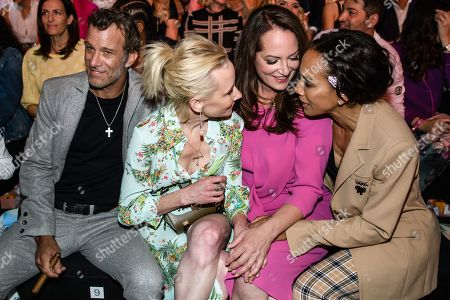 US actors Anne Heche (2-L) and Thomas Jane (L), US-German designer Barbara Becker (R) and German actress Natalia Woerner (3-L) chat prior to the Riani show during the Mercedes-Benz Fashion Week in Berlin, Germany, 03 July 2019. The Spring/Summer 2020 collections are presented at the MBFW Berlin from 01 to 03 July.