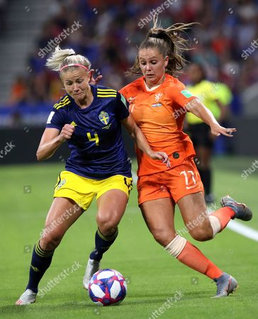 Netherlands' Lieke Martens, right, challenges Sweden's Hanna Glas, left, during the Women's World Cup semifinal soccer match between the Netherlands and Sweden at the Stade de Lyon outside Lyon, France