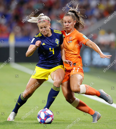Netherland's Lieke Martens (R) in action against Sweden's Hanna Glas (L) during the FIFA Women's World Cup 2019 semifinal soccer match between Netherlands and Sweden in Lyon, France, 03 July 2019.