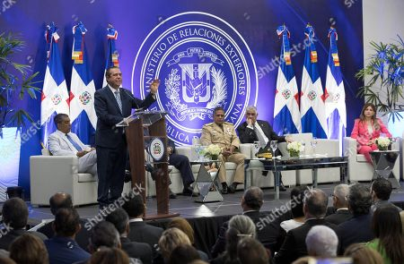 Stock Image of Dominican Tourism Minister Francisco Javier Garcia speaks during an event with foreign ambassadors, in Santo Domingo, Dominican Republic, 03 July 2019. Garcia defended tourism, the main source of income of the country, after the deaths of several US tourists in national hotels.