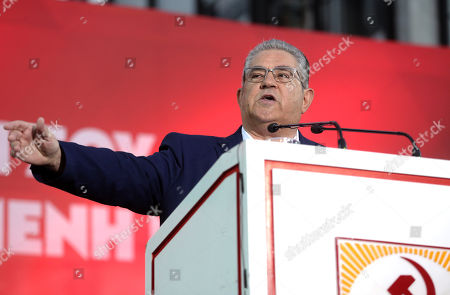 Stock Image of Secretary general of the Communist Party of Greece (KKE) Dimitris Koutsoumpas delivers a speech during the party's main pre-election rally at central Syntagma square in Athens, Greece, 03 July 2019. General elections in Greece are scheduled on 07 July 2019.