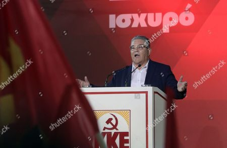 Secretary general of the Communist Party of Greece (KKE), Dimitris Koutsoumpas delivers a speech during the party's main pre-election rally at central Syntagma square in Athens, Greece, 03 July 2019. General elections in Greece are scheduled on 07 July 2019.