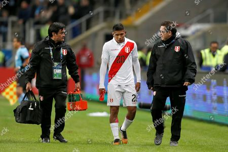 Peru's Edison Flores (C) leaves the field during the Copa America 2019 semi-finals soccer match between Chile and Peru at Arena do Gremio Stadium in Porto Alegre, Brazil, 03 July 2019.