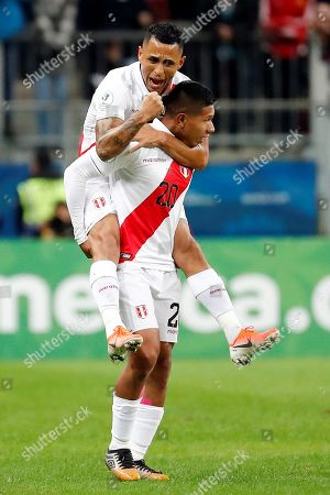 Peru's Edison Flores (bottom) celebrates after scoring a goal during the Copa America 2019 semi-finals soccer match between Chile and Peru at Arena do Gremio Stadium in Porto Alegre, Brazil, 03 July 2019.