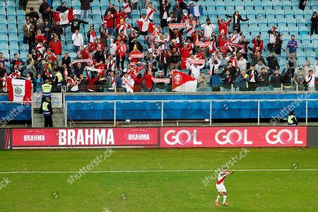 Peru's Christian Cuevas celebrates the victory during the Copa America 2019 semi-finals soccer match between Chile and Peru at Arena do Gremio Stadium in Porto Alegre, Brazil, 03 July 2019.