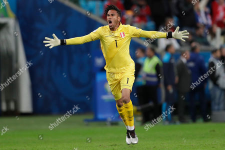 Peru's goalkeeper Pedro Gallese celebrates his side's first goal scored by Edison Flores against Chile during a Copa America semifinal soccer match at the Arena do Gremio in Porto Alegre, Brazil