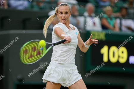 Magdalena Rybarikova of Slovakia during the women's singles second round match of the Wimbledon Lawn Tennis Championships against Cori Gauff of the United States