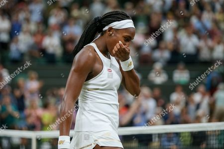 Cori Gauff of the United States celebrates after the women's singles second round match of the Wimbledon Lawn Tennis Championships against Magdalena Rybarikova of Slovakia