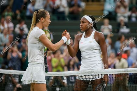 Cori Gauff of the United States and Magdalena Rybarikova of Slovakia greet each other after the women's singles second round match of the Wimbledon Lawn Tennis Championships