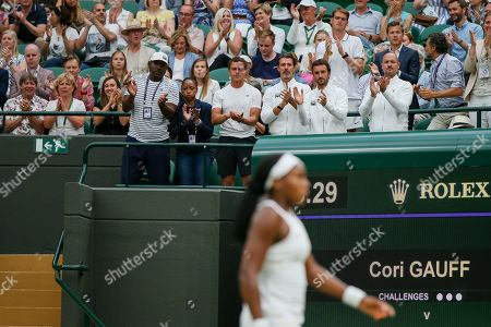 Coaches and families of Cori Gauff of the United States during the women's singles second round match of the Wimbledon Lawn Tennis Championships against Magdalena Rybarikova of Slovakia