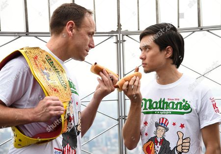 Editorial picture of 2019 Nathan's Hot Dog Eating Contest Weigh-In, New York, USA - 03 Jul 2019