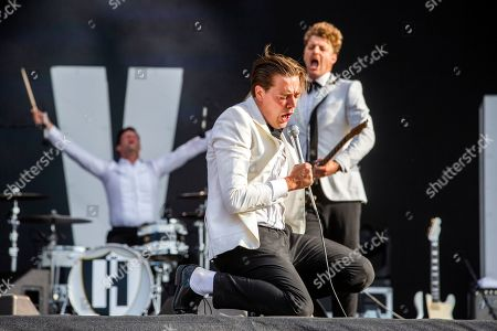 Pelle Almqvist and The Hives performing on stage during the second day