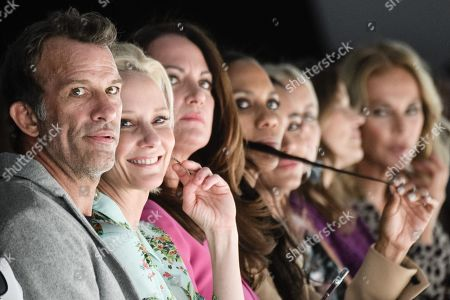 US actors Anne Heche (2-L) and Thomas Jane (L) and German actress Natalia Woerner (3-L) and Barbara Becker (4-L) watch the Riani show during the Mercedes-Benz Fashion Week in Berlin, Germany, 03 July 2019. The Spring/Summer 2020 collections are presented at the MBFW Berlin from 01 to 03 July.
