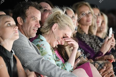 US actors Anne Heche (3-L) and Thomas Jane (2-L) and German actress Natalia Woerner (4-L) and Barbara Becker (obscured) watch the Riani show during the Mercedes-Benz Fashion Week in Berlin, Germany, 03 July 2019. The Spring/Summer 2020 collections are presented at the MBFW Berlin from 01 to 03 July.