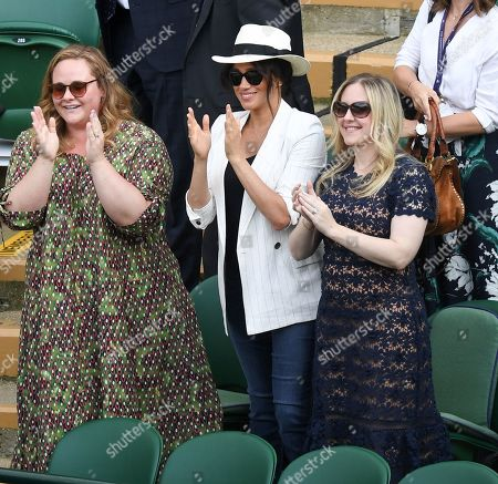 Meghan Duchess of Sussex with friends Genevieve Hillis (L) and Lindsay Roth watching the action on Court 1