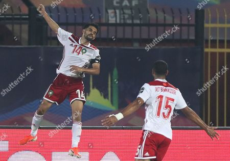 Mbark Boussoufa (L) of Morocco celebrates his goal during the 2019 Africa Cup of Nations (AFCON) group D soccer match between South Africa and Morocco at  Al-Salam Stadium in Cairo, Egypt, 01 July 2019.