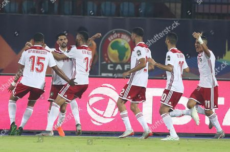 Stock Image of Mbark Boussoufa (2-L) of Morocco celebrates his goal during the 2019 Africa Cup of Nations (AFCON) group D soccer match between South Africa and Morocco at  Al-Salam Stadium in Cairo, Egypt, 01 July 2019.