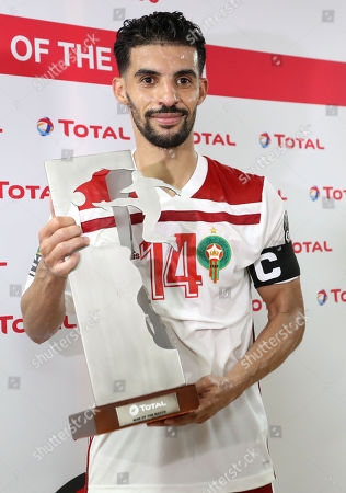 Mbark Boussoufa of Morocco wins the Man of the Match award after the 2019 Africa Cup of Nations (AFCON) group D soccer match between South Africa and Morocco at  Al-Salam Stadium in Cairo, Egypt, 01 July 2019.