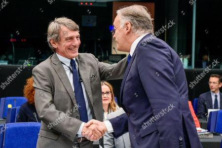 Stock Image of David Sassoli, Esteban Gonzalez Pons - Meeting of the European Parliament conference of Presidents