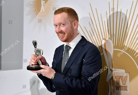 Stock Image of Luke McGregor poses with the Logie Award for Most Popular Actor during the 2019 Logie Awards at The Star Casino on the Gold Coast, Australia, 30 June 2019. ( )
