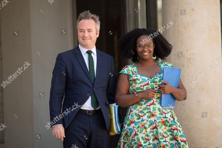 French Junior Minister for Foreign Affairs Jean-Baptiste Lemoyne (L) and French Junior Minister and Government's spokesperson Sibeth Ndiaye
