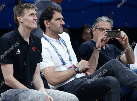 Stock Picture of President of the Russian Basketball Federation Andrei Kirilenko (L) and the President of the Spanish Basketball federation Jorge Garbajosa (C) attend the FIBA Women's Eurobasket 2019 quarter finals match between Spain and Russia in Belgrade, Serbia, 04 July 2019.