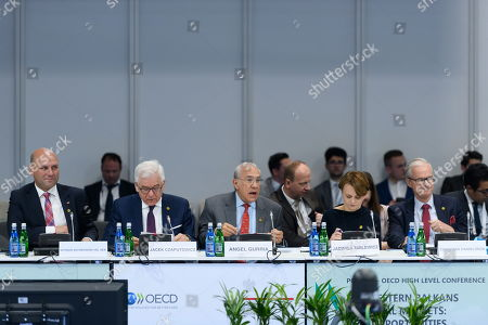 Polish Deputy Minister of Foreign Affairs Szymon Szynkowski (L), Polish Foreign Minister Jacek Czaputowicz (2-L), Jose Angel Gurria (C), secretary-general of the Organization for Economic Co-operation and Development (OECD), Business and Technology Minister Jadwiga Emilewicz (2-R) and director General of Neighbourhood and Enlargement Negotiations Christian Danielsson (R) during the talks at the summit of six Western Balkan countries taking part in the pre-accession Berlin Process started in the Polish western city of Poznan, Poland, 04 July 2019. The summit gathered officials from countries taking part in the Berlin Process, an initiative that supports the integration of the six Western Balkan nations with the European Union.