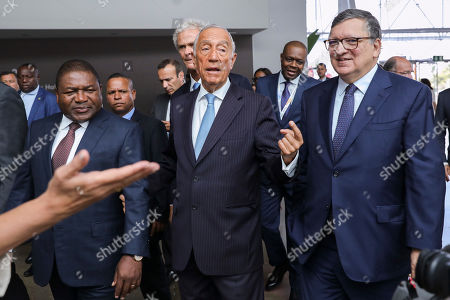 Stock Photo of Mozambique's President Filipe Nyusi (L) accompanied by Portugal's President Marcelo Rebelo de Sousa (C) and by former President of the European Union and non-executive Chairman of Goldman Sachs International Jose Manuel Durao Barroso (R) during Eurafrican Forum at Nova School of Business and Economics in Carcavelos, outskirts of Lisbon, Portugal, 04 July 2019.