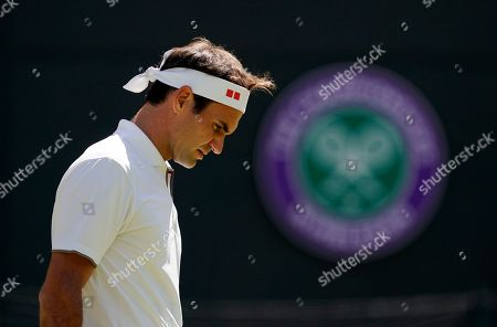 Roger Federer of Switzerland plays Jay Clarke of Britain in their second round match during the Wimbledon Championships at the All England Lawn Tennis Club, in London, Britain, 04 July 2019.