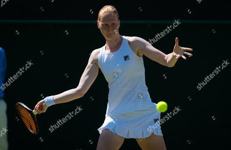 Alison Van Uytvanck of Belgium in action during her second-round match