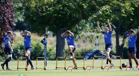 England backs (l-r) Ollie Thorley, Mike Brown, Danny Cipriani, Ruaridh McConnochie and Manu Tuilagi