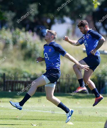 Ruaridh McConnochie (left) training with the leaping Danny Cipriani