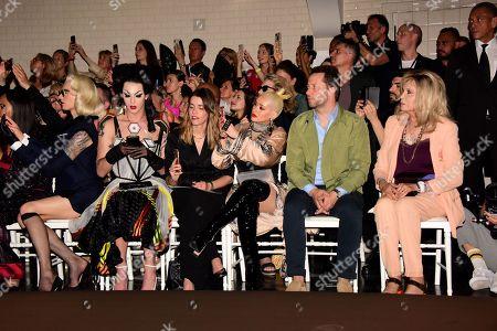 Christina Aguilera, Derek Blasberg, Amanda Lear in the front row