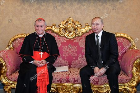 Vatican Secretary of State Italian Cardinal Pietro Parolin (L) and Russian President Vladimir Putin (R) during a private meeting at the Vatican, 04 July 2019. Putin arrived for a one-day visit to Vatican and Rome and to meet with the Pope and Italian leaders.