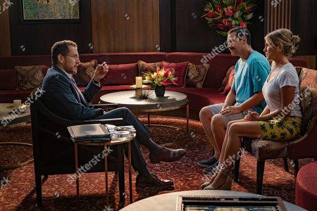 Dany Boon as Inspector Laurent De La Croix, Adam Sandler as Nick Spitz and Jennifer Aniston as Audrey Spitz