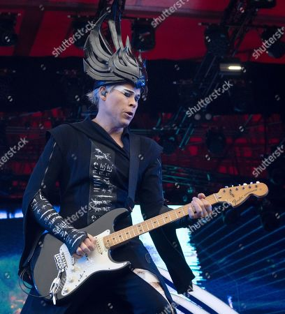 Luke Steele of the Australian band Empire of The Sun performs on the Orange stage during the Roskilde Festival, in Roskilde, Denmark, 04 July 2019. The festival runs from 29 June to 06 July.