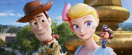 Woody (Tom Hanks), Bo Peep (Annie Potts) and Giggle McDimples (Ally Maki)