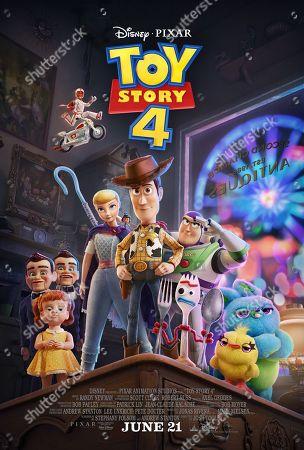 Toy Story 4 (2019) Poster art. Gabby Gabby (Christina Hendricks), Duke Caboom (Keanu Reeves), Bo Peep (Annie Potts), Giggle McDimples (Ally Maki), Woody (Tom Hanks), Buzz Lightyear (Tim Allen), Forky (Tony Hale), Ducky (Keegan-Michael Key) and Bunny (Jordan Peele)