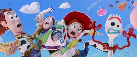 Stock Picture of Woody (Tom Hanks), Buzz Lightyear (Tim Allen), Joan Cusack as Jessie and Forky (Tony Hale)