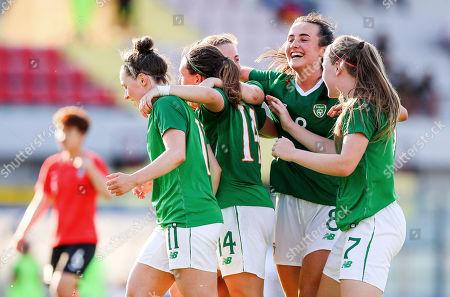Ireland vs South Korea. Ireland's Eleanor Ryan Doyle celebrates scoring her second goal with Aislinn Meaney, Megan Lynch, Lauren Kelly and Niamh Farrelly