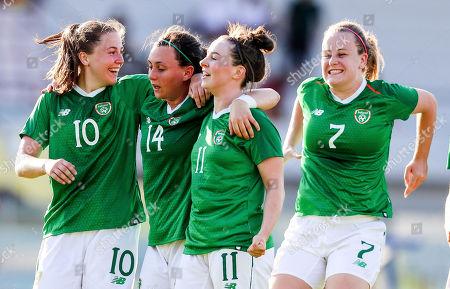 Ireland vs South Korea. Ireland's Eleanor Ryan Doyle celebrates scoring her second goal with Aislinn Meaney, Megan Lynch and Lauren Kelly