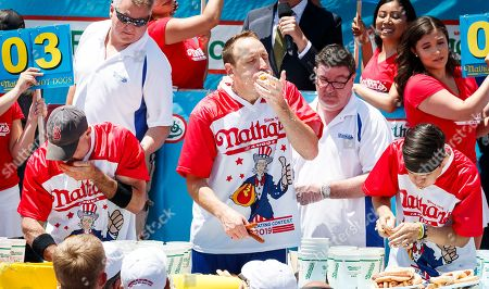Editorial photo of Nathan's Famous Fourth of July Hog Dog Eating contest in Coney island, Brooklyn, USA - 04 Jul 2019