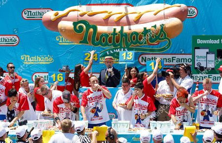 Editorial image of Nathan's Famous Fourth of July Hog Dog Eating contest in Coney island, Brooklyn, USA - 04 Jul 2019