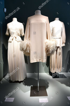 Dresses from the wardrobe of Italian actress Claudia Cardinale on display at Sotheby's auction house in Paris, France, 04 July 2019. Some 130 couture and ready-to-wear creations will go on sale in a public online auction, titled 'Claudia Cardinale: Dressing a Star', at Sotheby's on 09 July 2019.