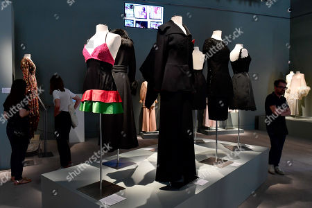 Stock Picture of A Marina Lante della Rovere mini dress (L, 1971) from the wardrobe of Italian actress Claudia Cardinale is on display in Paris, France, 04 July 2019. Some 130 couture and ready-to-wear creations will go on sale in a public online auction, titled 'Claudia Cardinale: Dressing a Star', at Sotheby's on 09 July 2019.