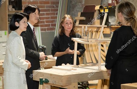 Crown Prince Akishino (2-L) and Crown Princess Akishino (L) of Japan, accompanied by Nikari CEO Johanna Vuorio (R) visit the workshop of furniture manufacturer Nikari in Fiskars village, Finland, 04 July 2019. The Japanese royal couple are on a four-day visit to Finland that marks 100 years of diplomatic relations between the two countries.