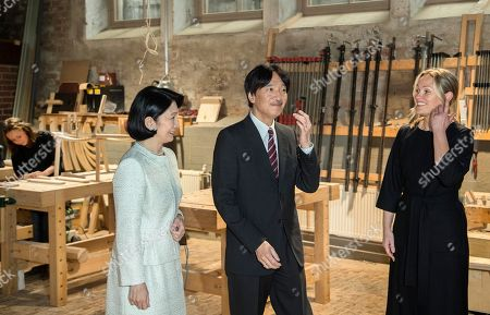Crown Prince Akishino (C) and Crown Princess Akishino (L) of Japan, accompanied by Nikari CEO Johanna Vuorio (R) visit the workshop of furniture manufacturer Nikari in Fiskars village, Finland, 04 July 2019. The Japanese royal couple are on a four-day visit to Finland that marks 100 years of diplomatic relations between the two countries.